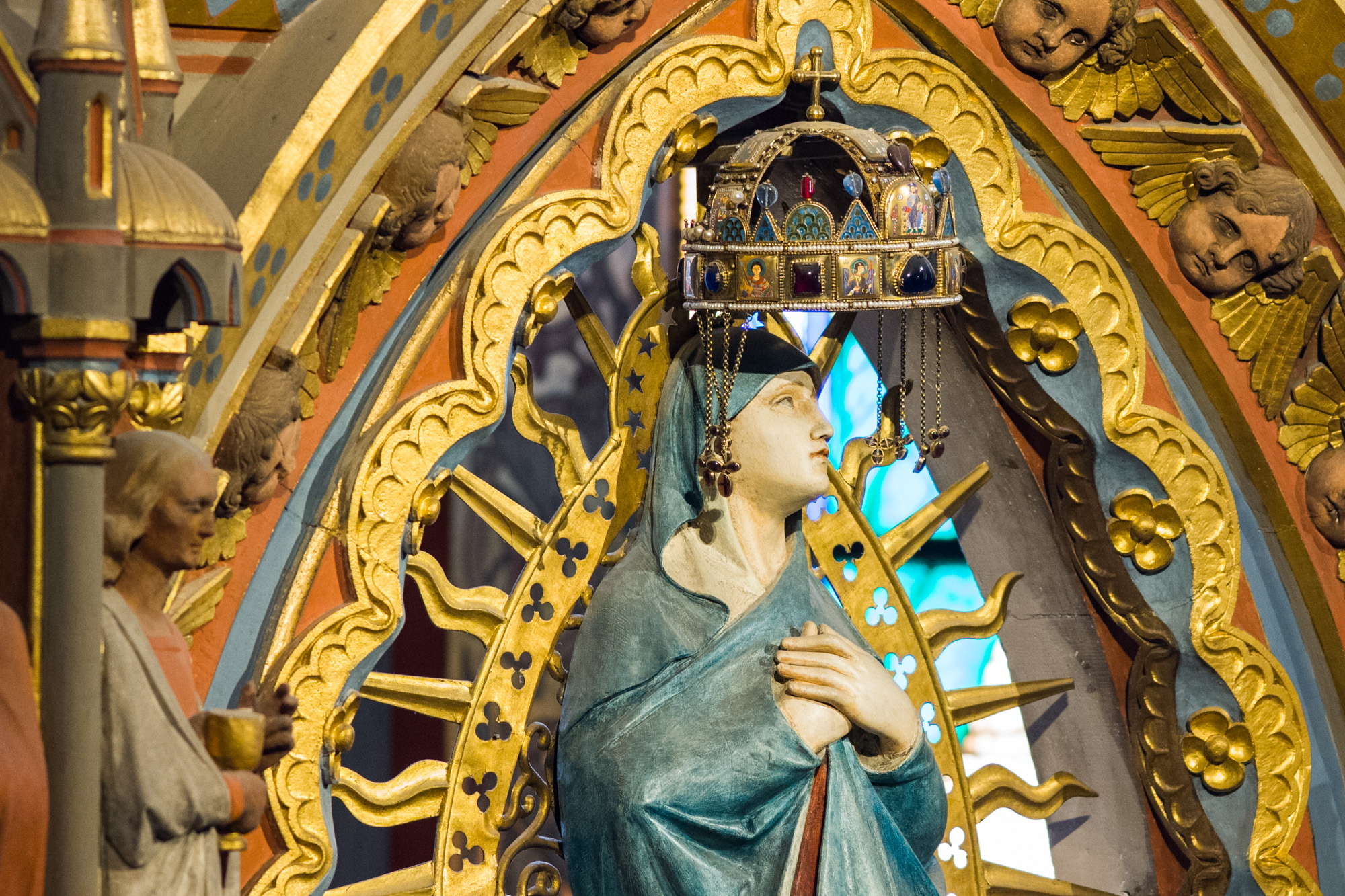 A replica of the Sacred Hungarian Crown above the Virgin Mary resides inside Matthias Church
