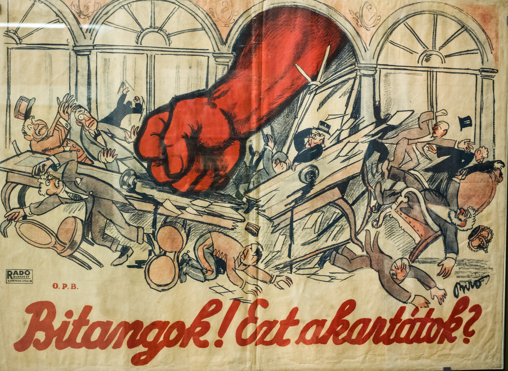 Poster from the communist era. On display in the Hungarian National Museum