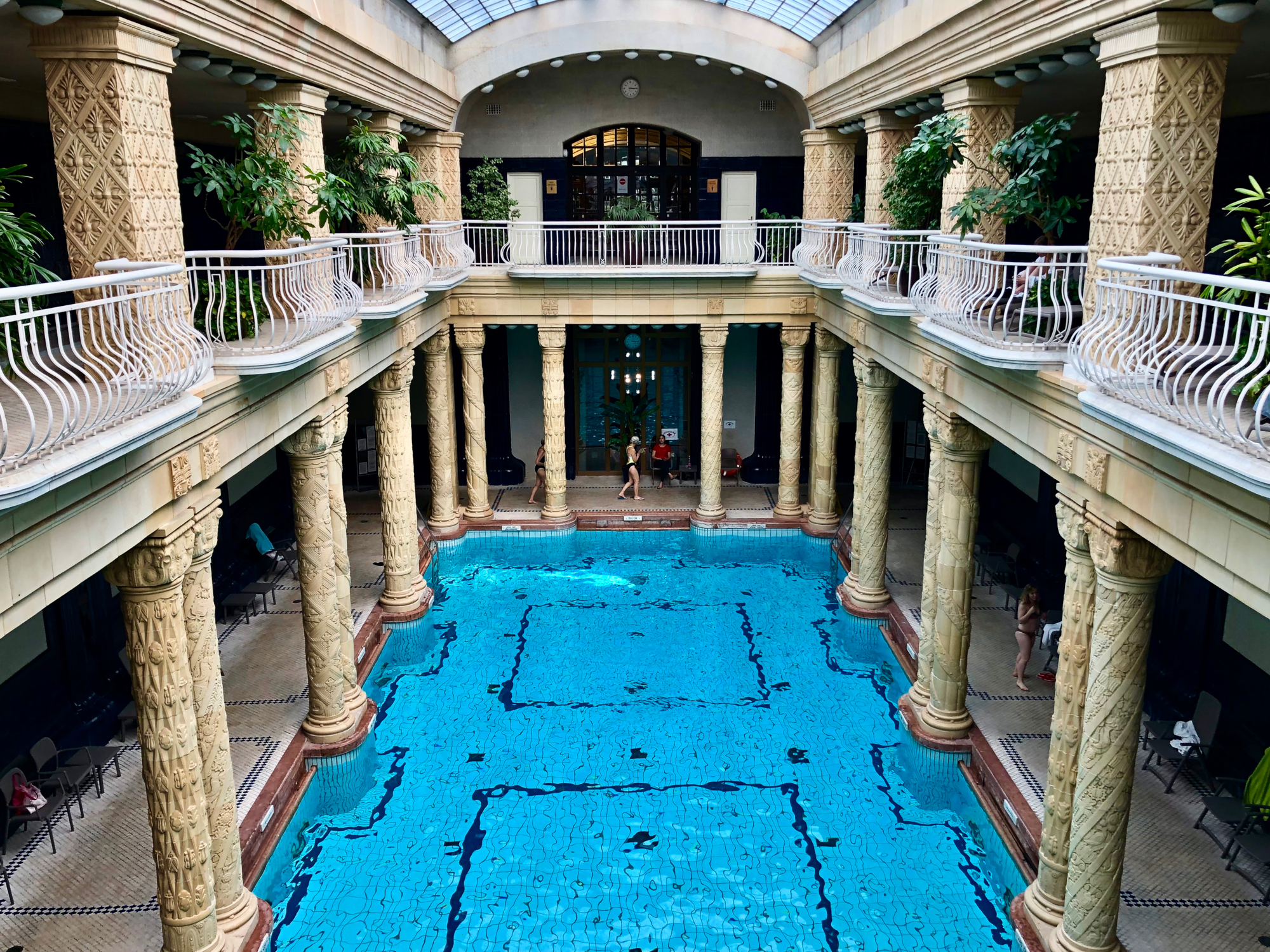 One of the many pools in Gellért Bath as seen from the dining area