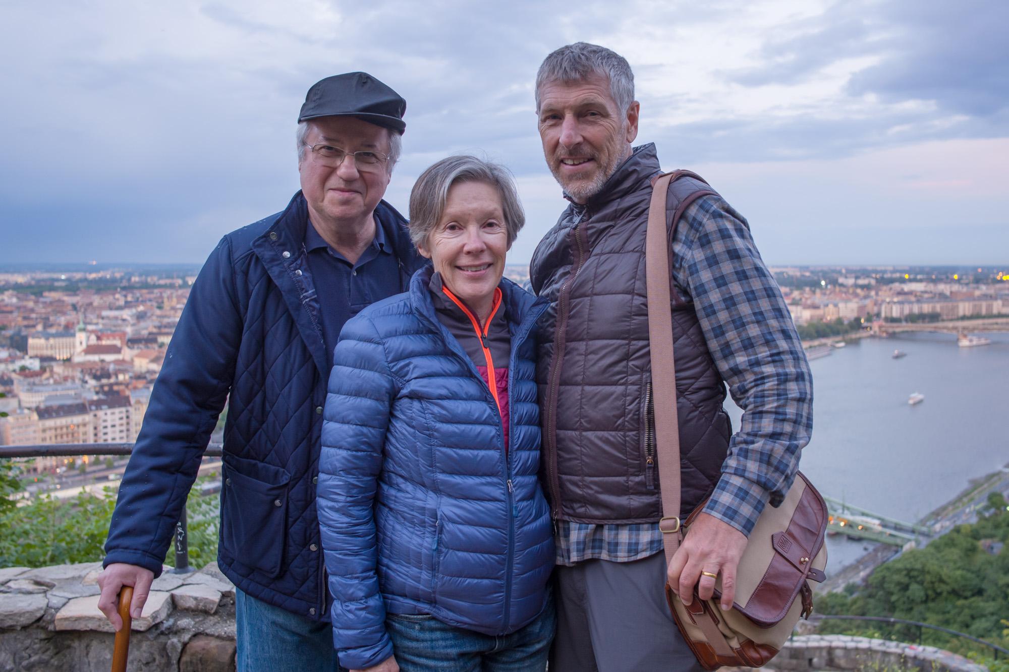 Tamas, Cheryl, and Rick above Budapest