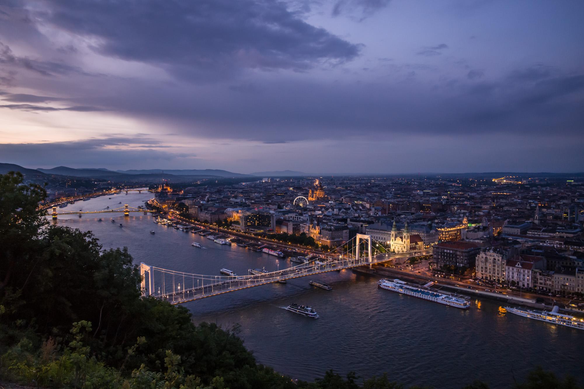 Bridge over the Danube at night