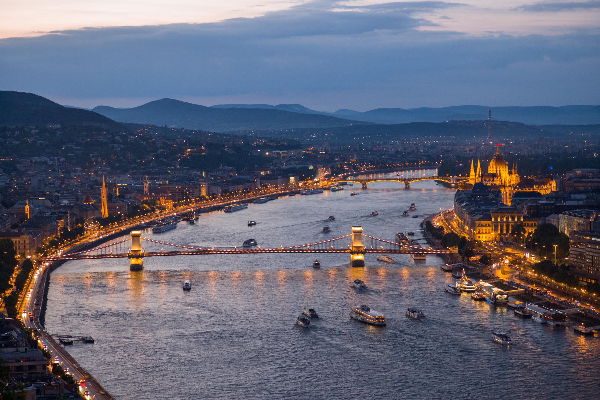 Bridges over the Danube at night