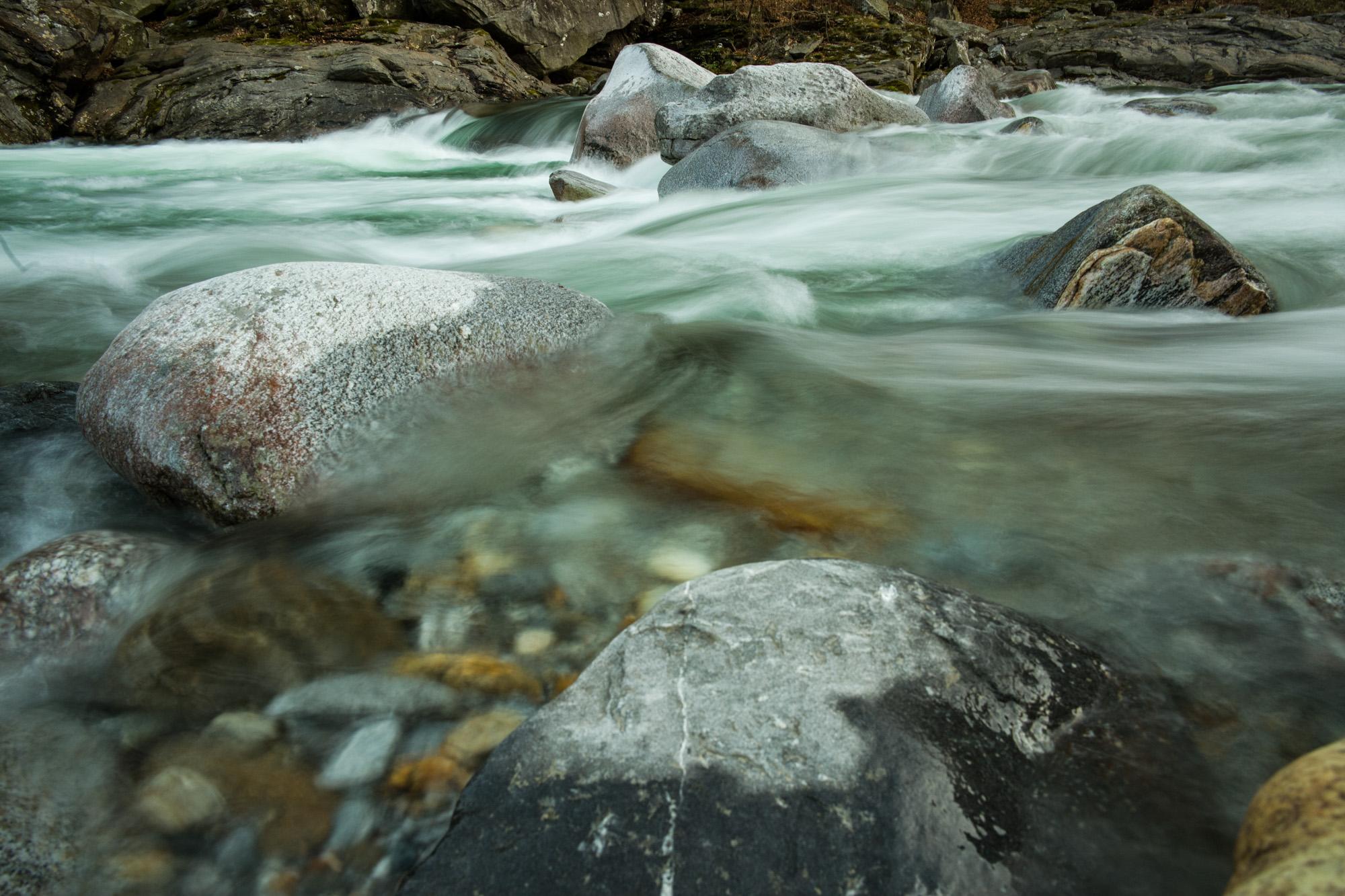 Swift, clear Verzasca River water