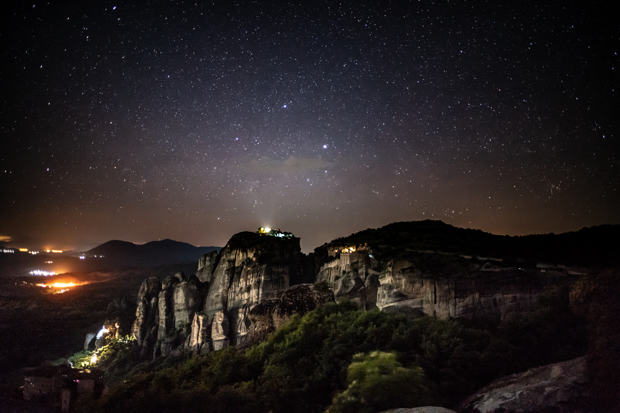 Meteora at night. Taken with the Leica M10 and 24mm Summilux. ISO 6400, 8 sec exposure. Processed in Lightroom