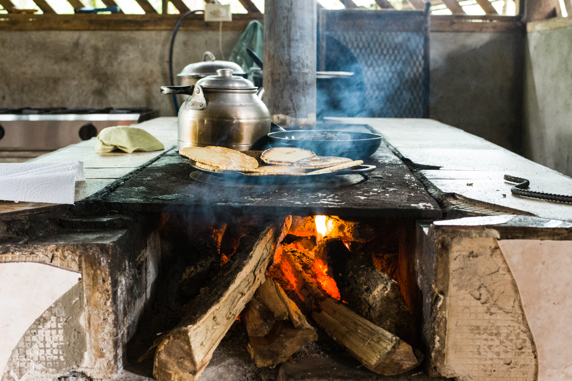 Lunch made on a wood fired stove at Cano Negro