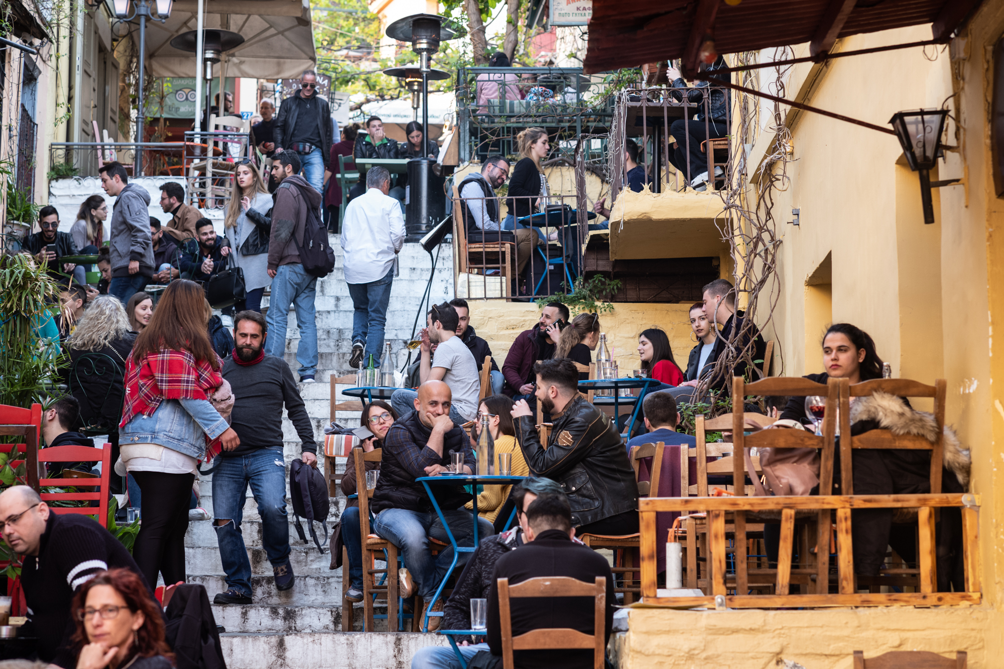 The cafes on the steps of Plaka