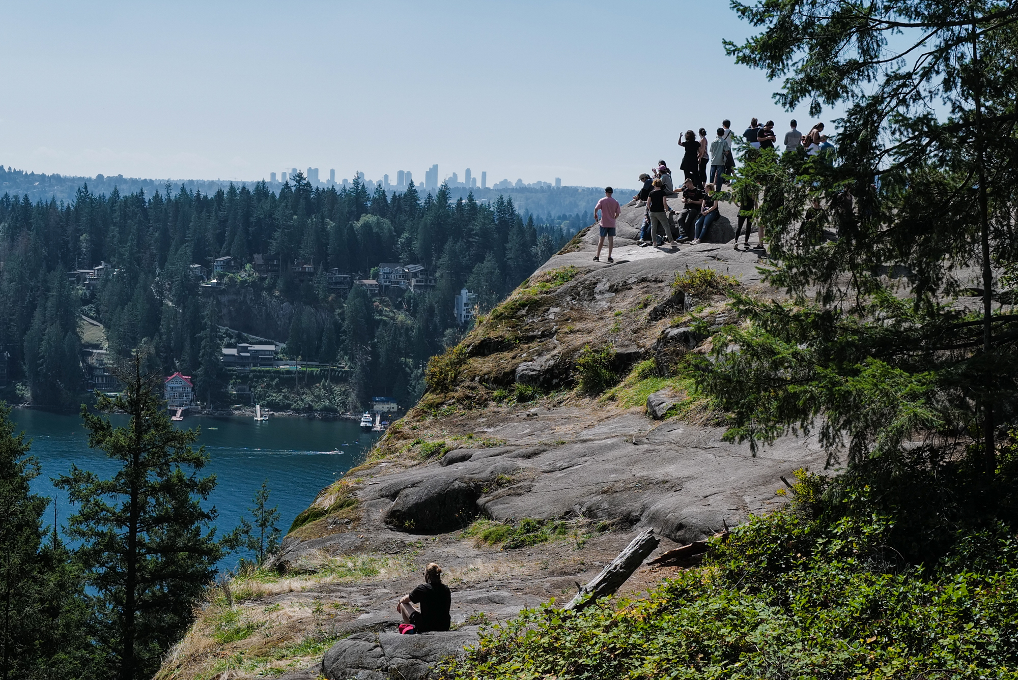 The view from atop Quarry Rock in Baden Powell Park with downtown Vancouver in the distance.