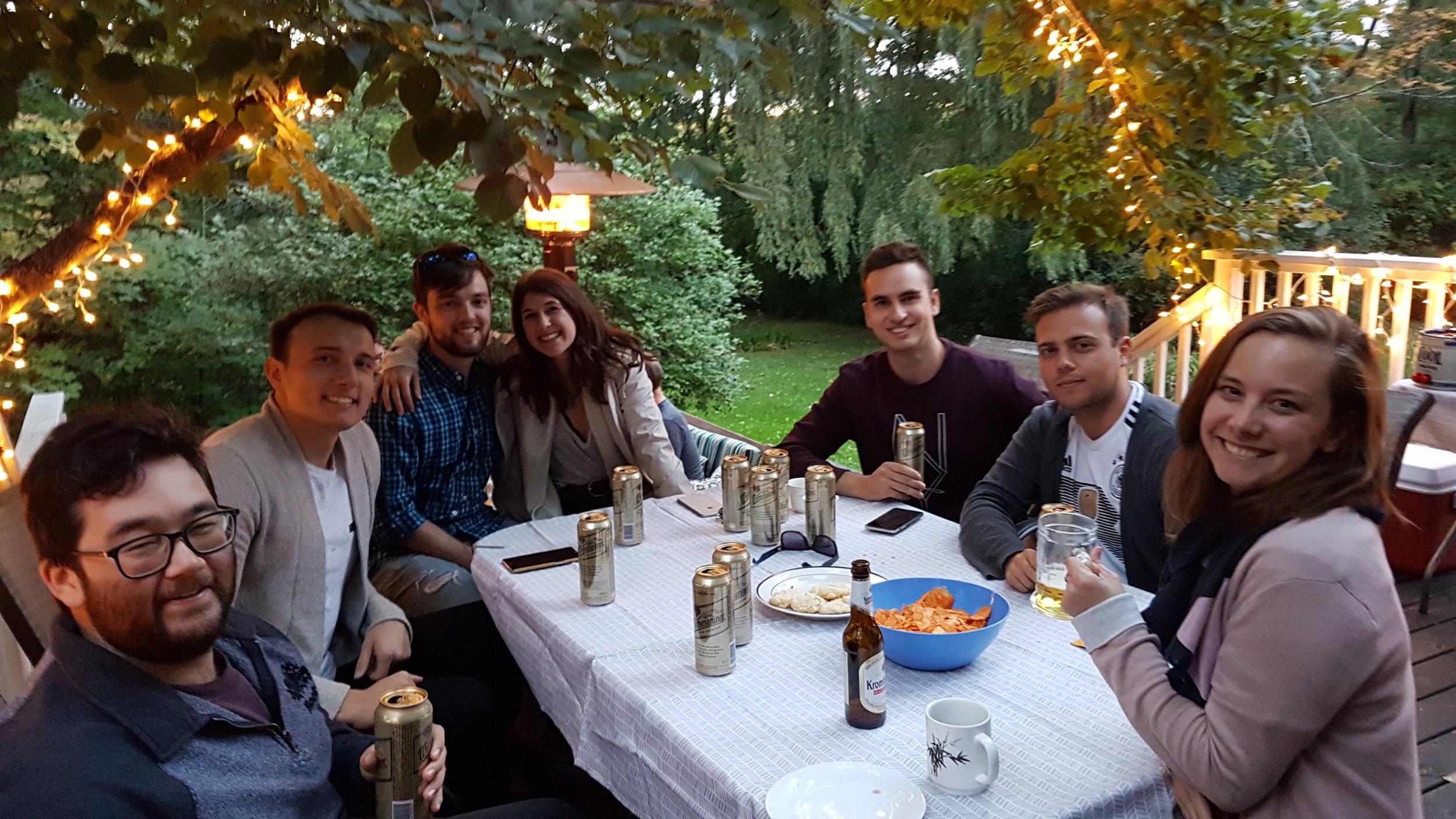 From left: Sean, Adam, Andrew, Emily, Leo, Matthias, and Annica