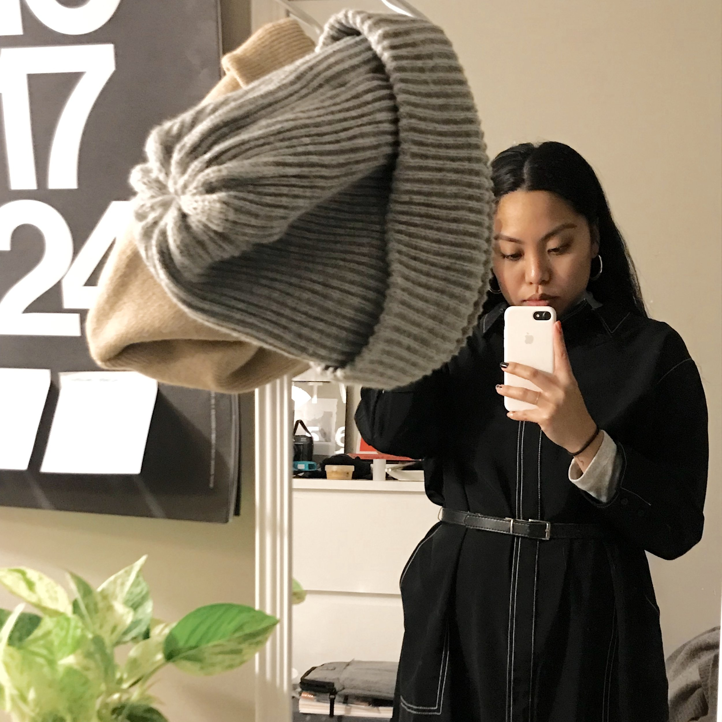 outfit ft. the beanie rotation of the week. Thank you Muji hooks ((((:
