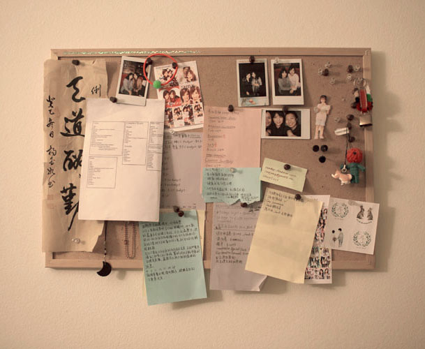 Lily Mendoza's pin board with pictures of friends, notes and to do lists