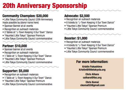 Download the 20th Anniversary Sponsorship Campaign Brochure    Download the 20th Anniversary Sponsorship Form   Throughout 2019, LTCC is holding a 20th Anniversary Sponsorship Campaign, with different opportunities to support LTCC and our work we do in historic Little Tokyo.