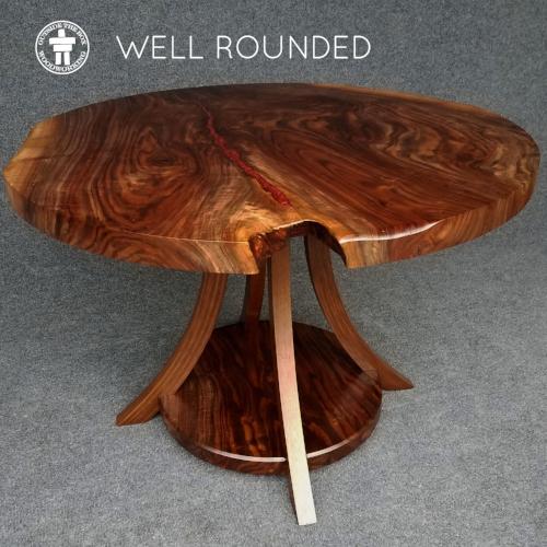 Round slab Walnut table