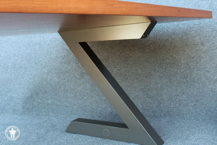 Modern live edge slab table leg