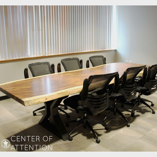 Live edge boardroom conference table