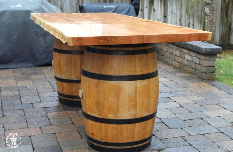 Custom rustic wine table