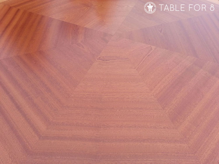 Solid wood table grain