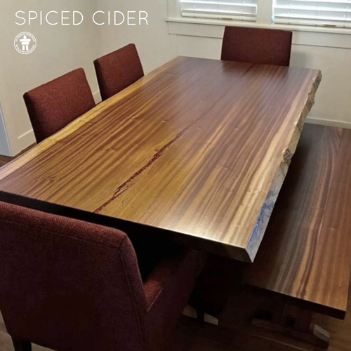 Live edge dining table with Crate and Barrel chairs