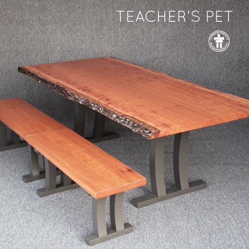 Slab dining table with benches