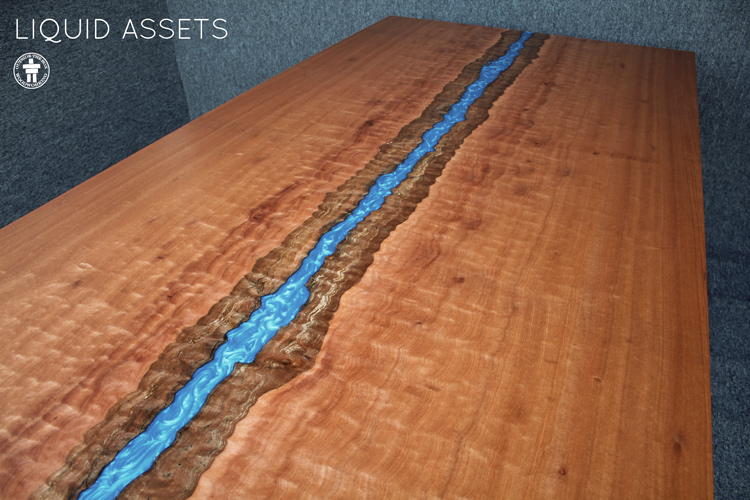 Epoxy resin live edge table