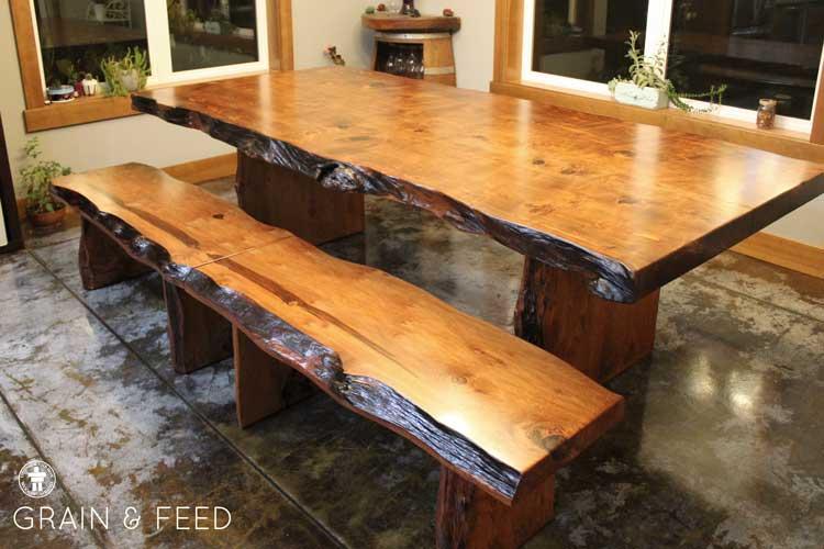Rustic slab farm table