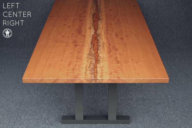 Custom inverted live edge dining table