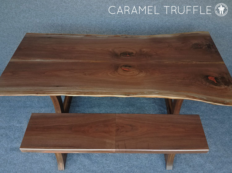 Walnut dining table with bench