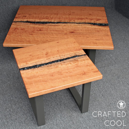 Contemporary wood living room tables