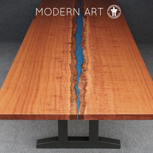 Modern slab river table