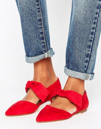 RED HOT - ASOS BOW TIE FLATS