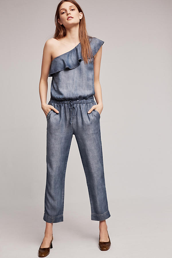 RUFFLED CHAMBRAY - ONE SHOULDER JUMPSUIT