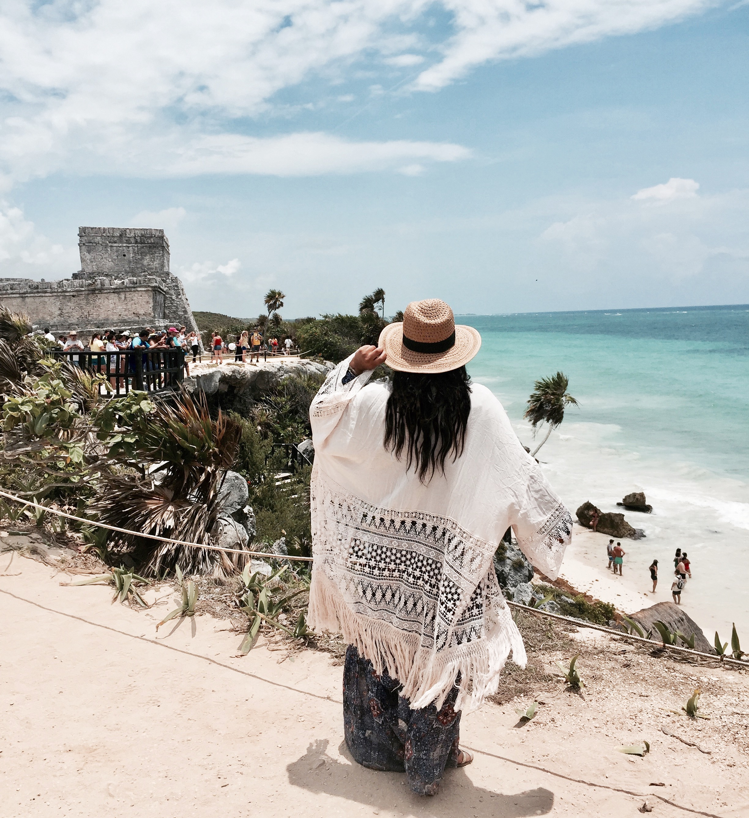 MAYAN RUINS OF TULUM  - Ancient historical architecture right off the coast.{Tip: We got a rental car for the few days we were in Mexico, so we can get around at our own time rather than go with a tour guide. We arrived mid-day, however, get there early, before all the large groups of tourists come in, we wish we did!And, also check out the cute little town to drink some fresh coconut water after the long hot walk to the ruins & some fun souvenir shopping}