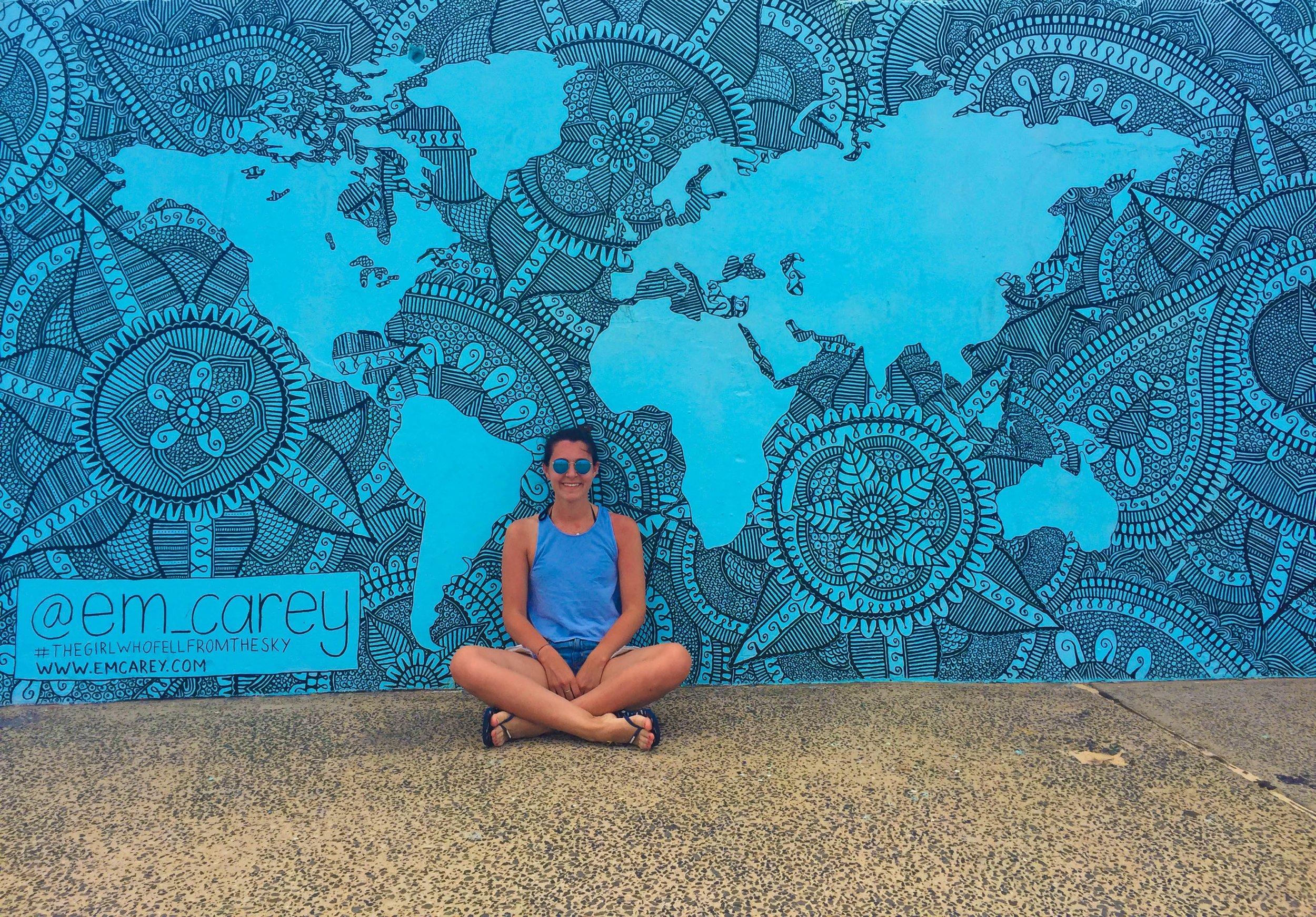 Mural at Bondi Beach by Emma Carey. Follow her incredible story on Instagram @em_carey.
