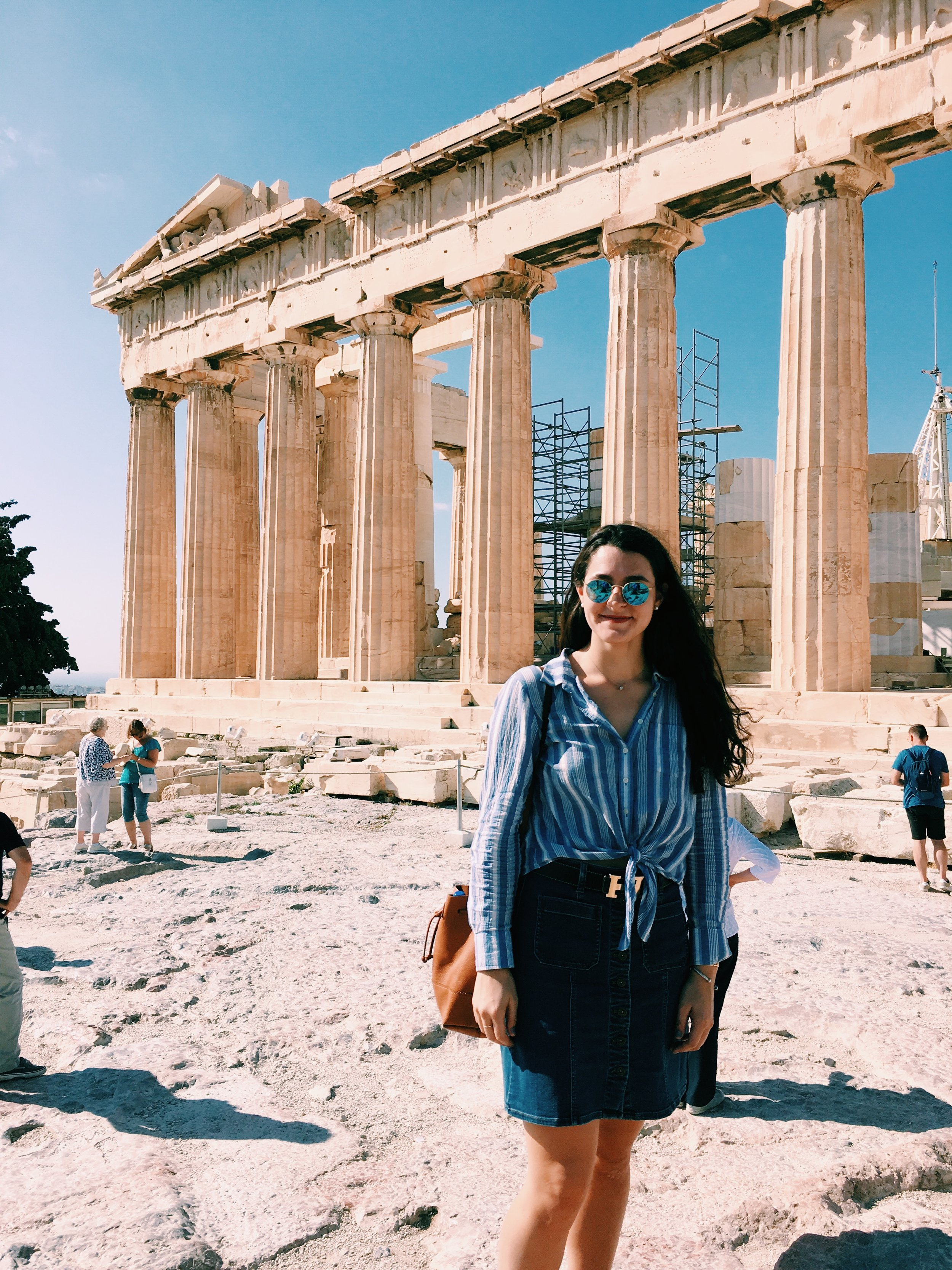 Athens, Greece 10.07.17  Shop my denim skirt & waist-tie shirt travel look     here.