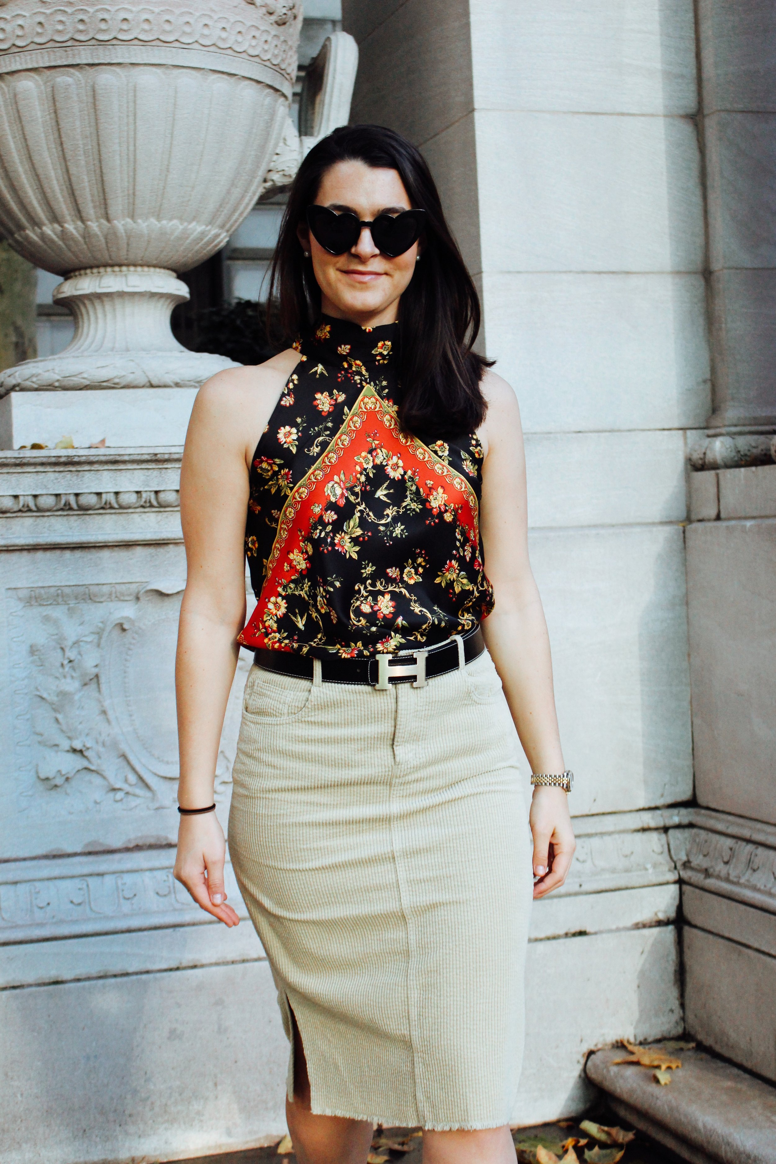 All clothes by Zara // Click for SIMILARS:  Vince Camuto cordury skirt  ($41),  Topshop mini corduroy skirt  ($65),  Hermés black belt ,  Heart sunnies  ($10),  Gucci halter top ON SALE  ($260)