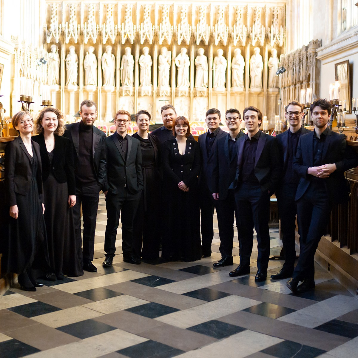 Oxford Bach Soloists Inaugural Choral Scholar Cohort, 2018-2019. New College Chapel, Oxford.