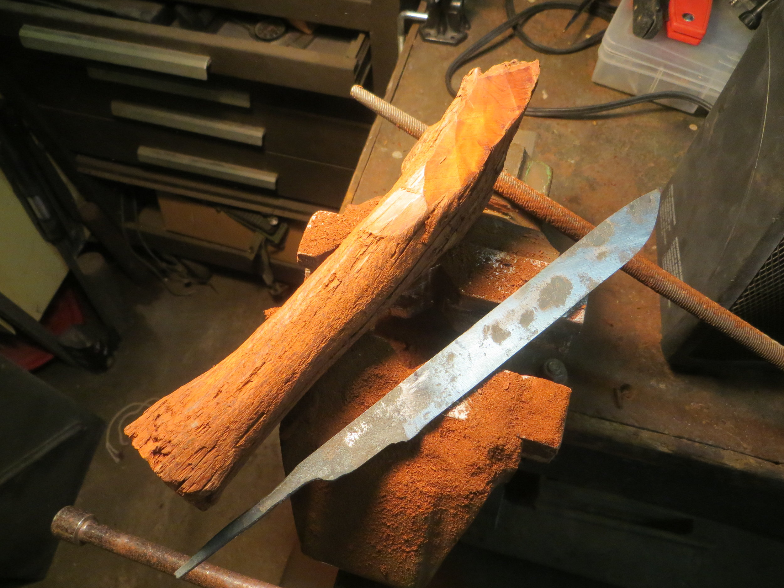 5 Prepping handle scales and forged file-blade.