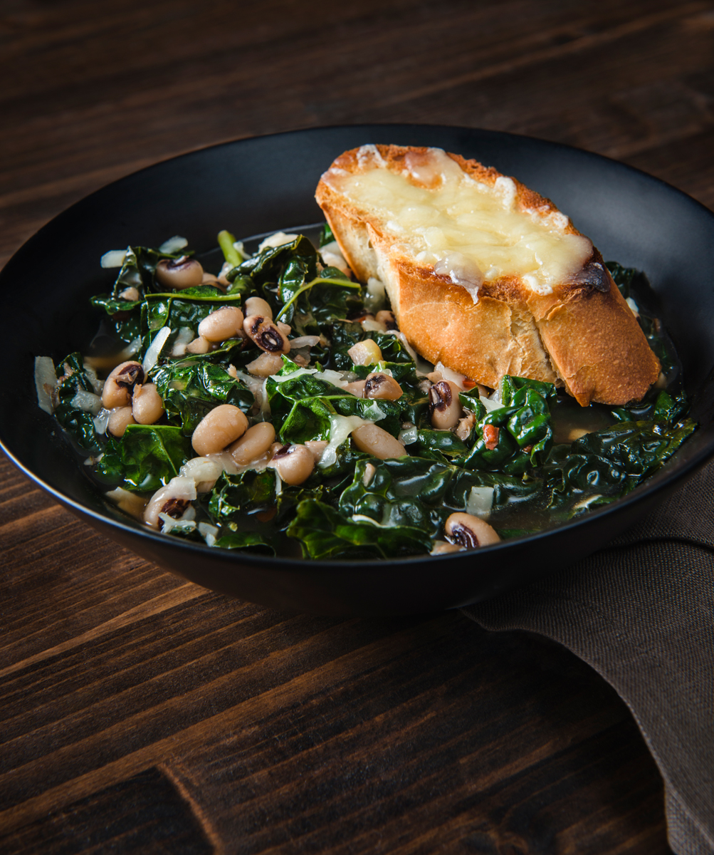 Culture Magazine Smokey Kale and Bean Stew with Cheesy Croutons