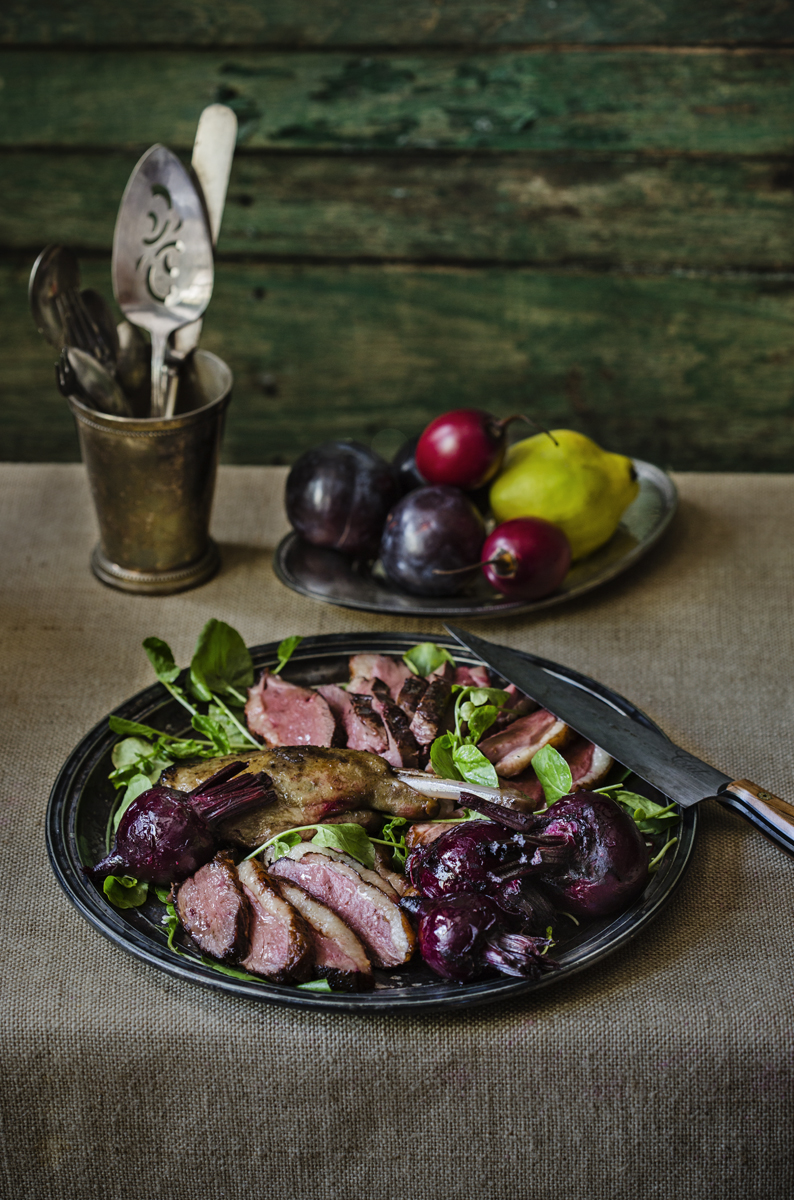Roast Duck Breast and Duck Leg Confit with Wilted Greens and Roasted Beets