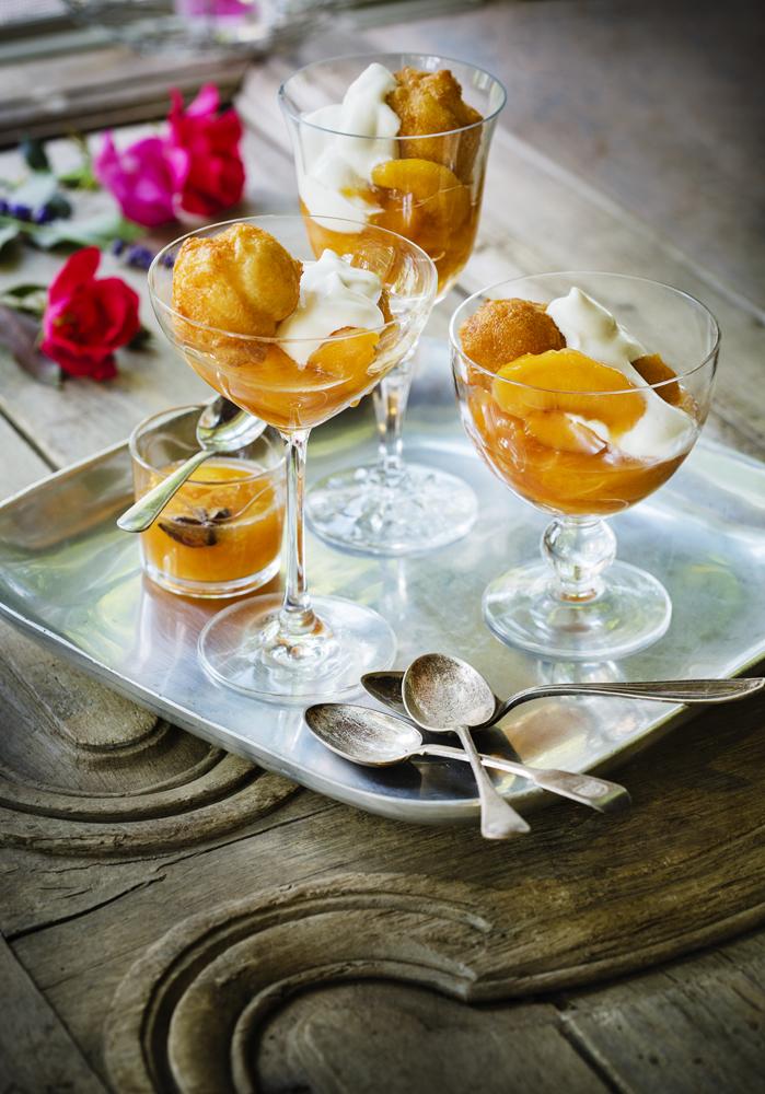 Lower Hudson Summer Menu: Peach Compote with  Cream Puffs
