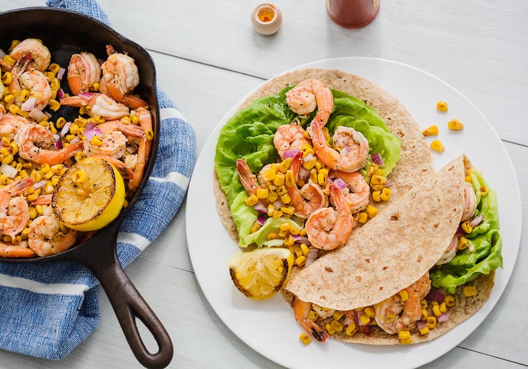 Green Valley Organics Seared Corn and Shrimp Tacos
