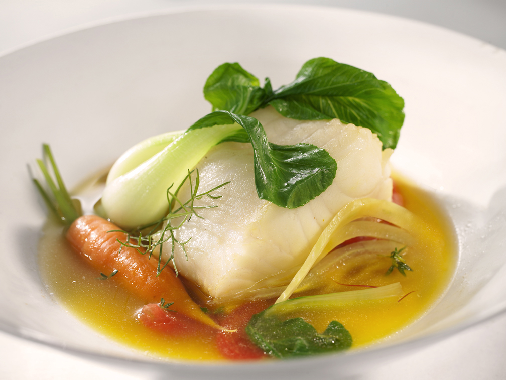 Poached Cod in Green Tea and Saffron Broth with Carrots, Baby Bok Choy, and Fennel