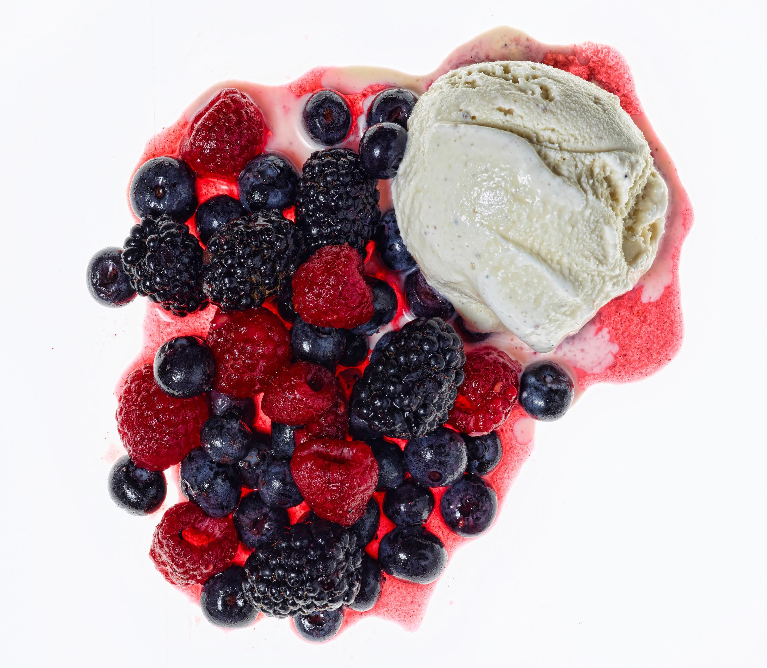 Triple Berry Compote with Vanilla Ice Cream