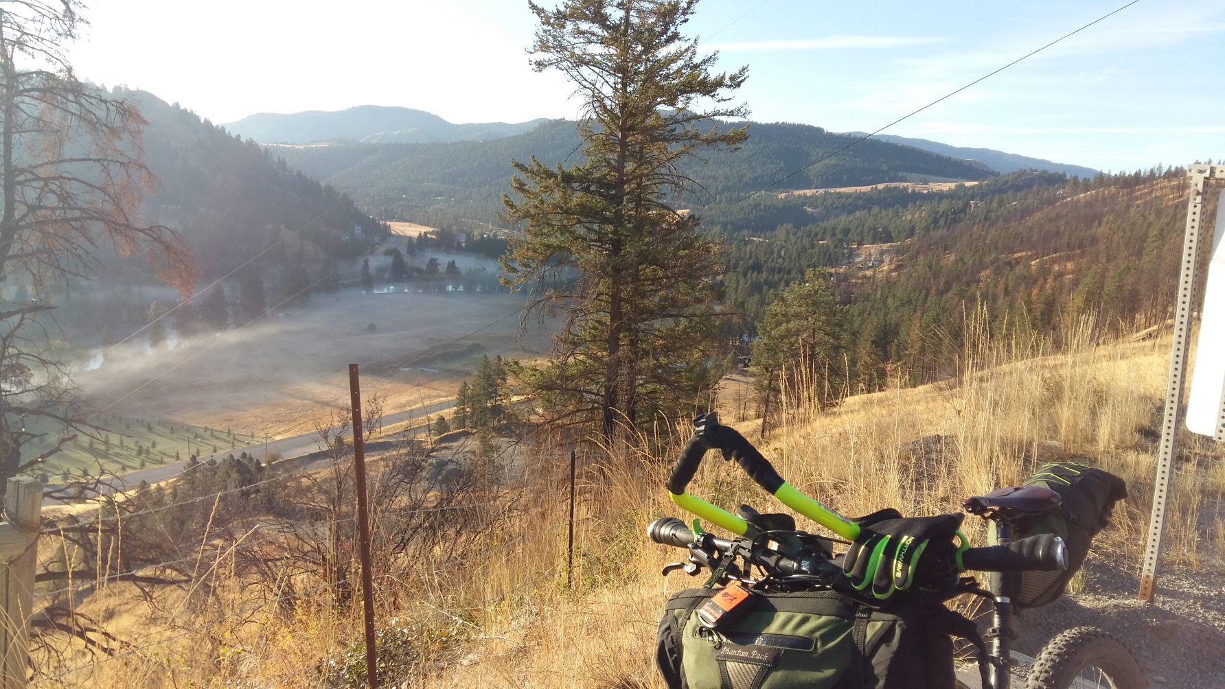 Looking down on Rock Creek and Kettle Valley from Hwy #3