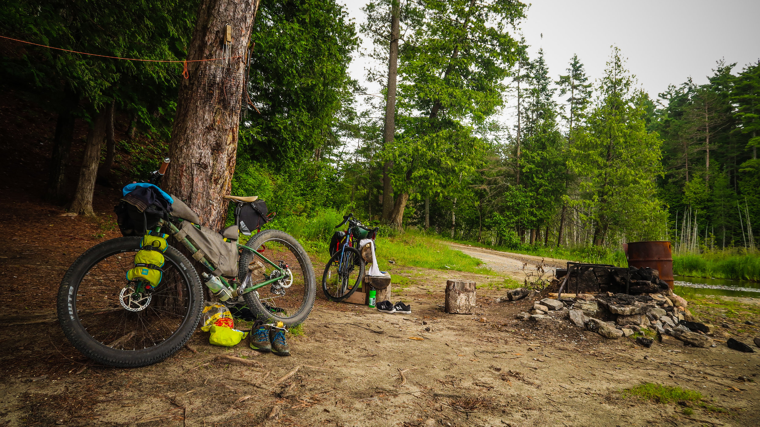 This roadside Crown land campsite at Dodge Lake is a great place to refill on water and have a quick swim. It might not be the best campsite though.