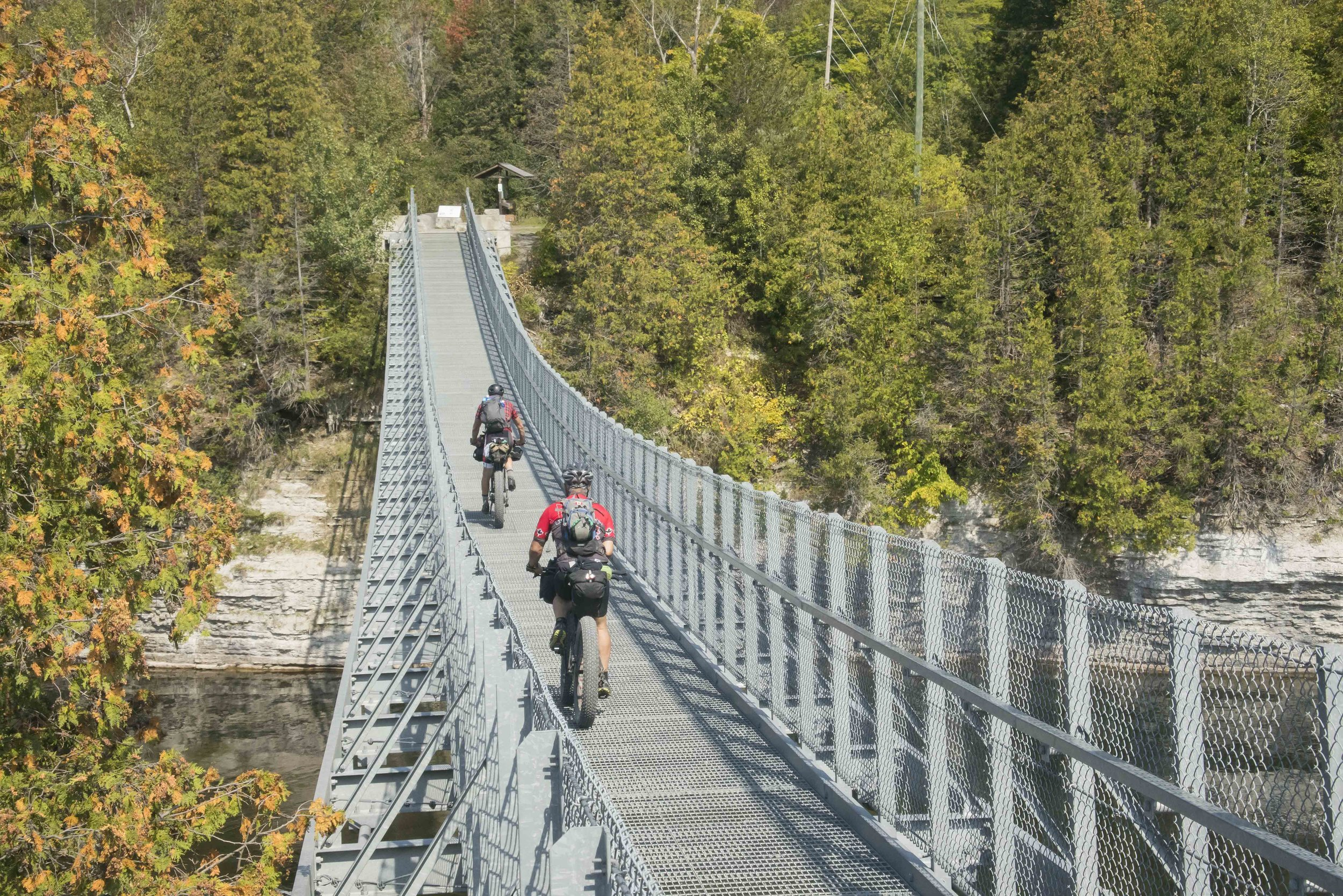 Cycling across the Ranny Gorge Suspension Bridge