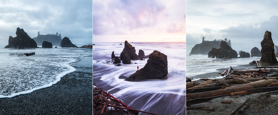 1.4 miles RT - 68ft of gain.  While listed as 1.4 miles RT, it only takes an easy 5 minute walk to reach the beginning of this beach. There are a few unique sea-stacks here and, like most west coast beaches, it is particularly beautiful at sunset.  WTA link:  https://www.wta.org/go-hiking/hikes/ruby-beach   AllTrails link:  https://www.alltrails.com/trail/us/washington/ruby-beach-trail