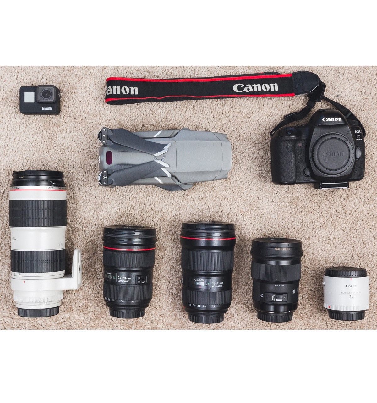Camera Gear - Canon 5D Mark IVCanon EF 16-35mm f/2.8L IIICanon EF 24-70mm f/2.8L IICanon EF 70-200mm f/2.8L IIICanon EF 2.0X III Telephoto ExtenderSigma 50mm f/1.4 ArtDJI Mavic 2 ProGoPro HERO 7 Black