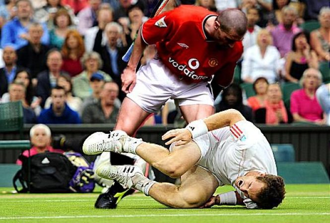 Roy Keane showing concern for his opponent