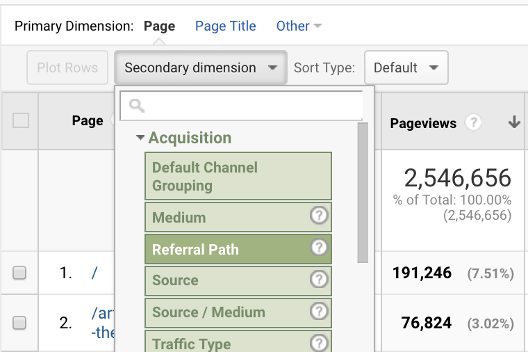 Here is an example of Events (Pageviews) and a few dimensions (Page, Referral Path, etc.)