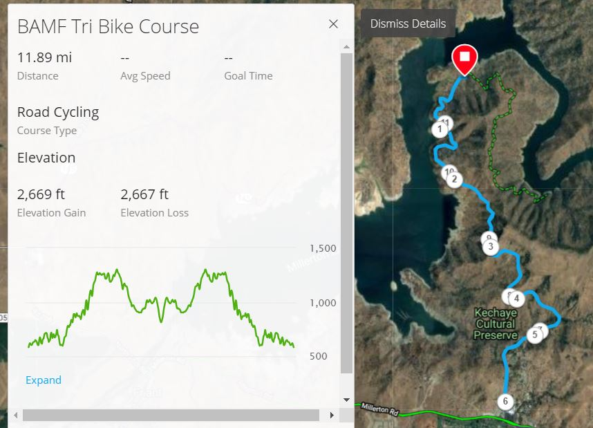 For the Garmin Connect interactive map of the Bike Course, click    HERE